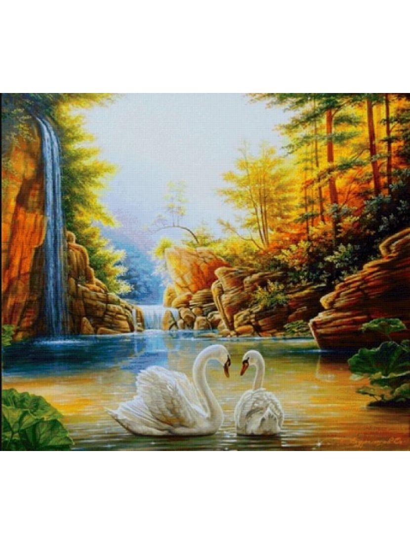 Алмазная мозаика «Лебеди в горной реке»