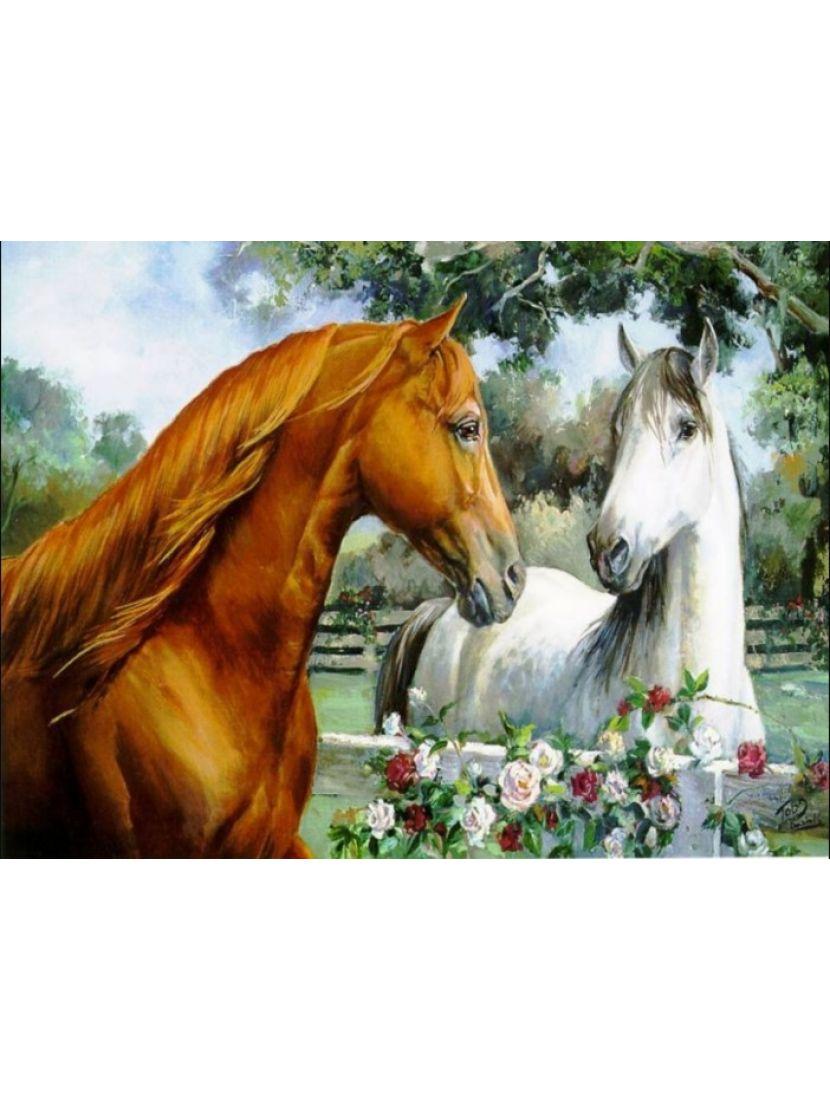 Алмазная мозаика «Лошади рыжая и белая»