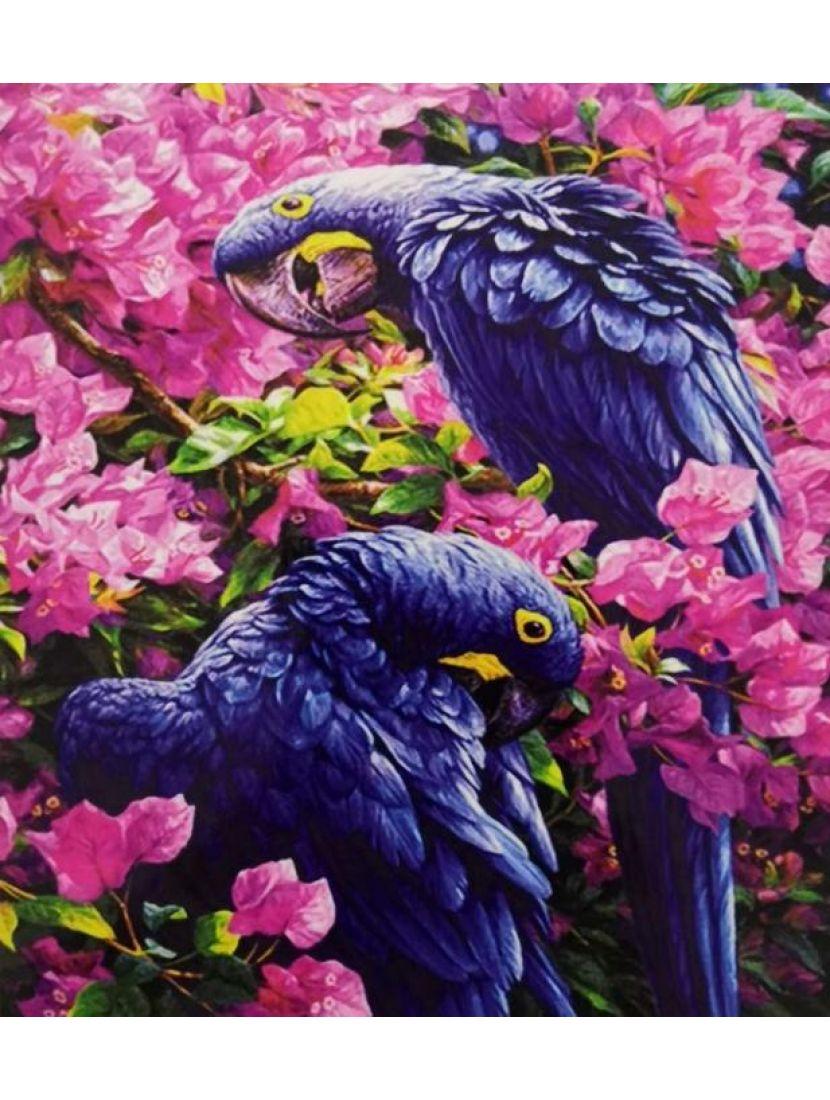 Алмазная мозаика «Попугаи в цветах»