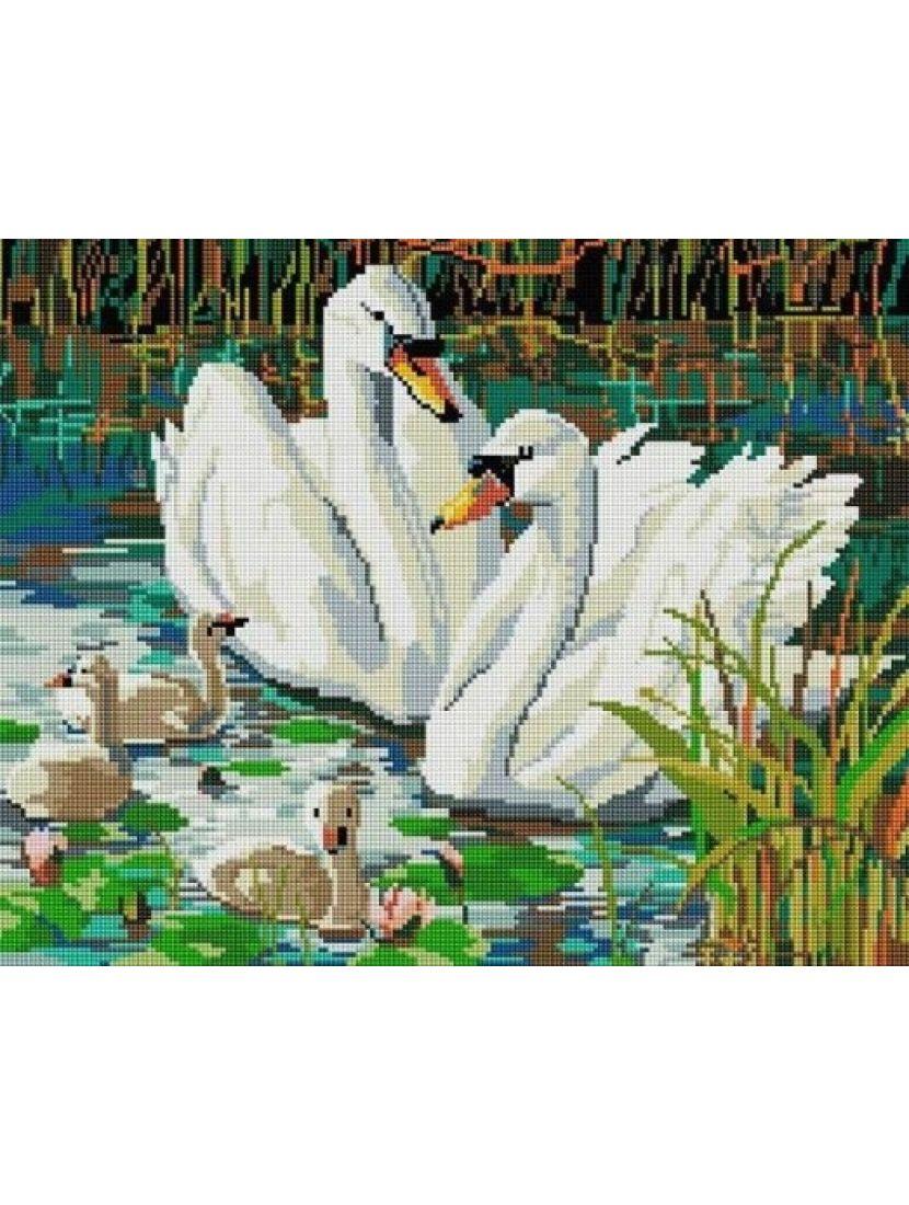 Алмазная мозаика «Лебединая семья»