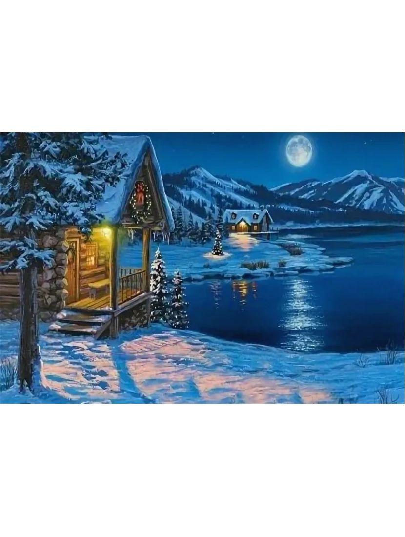 Алмазная мозаика «Зимняя ночь в горах»