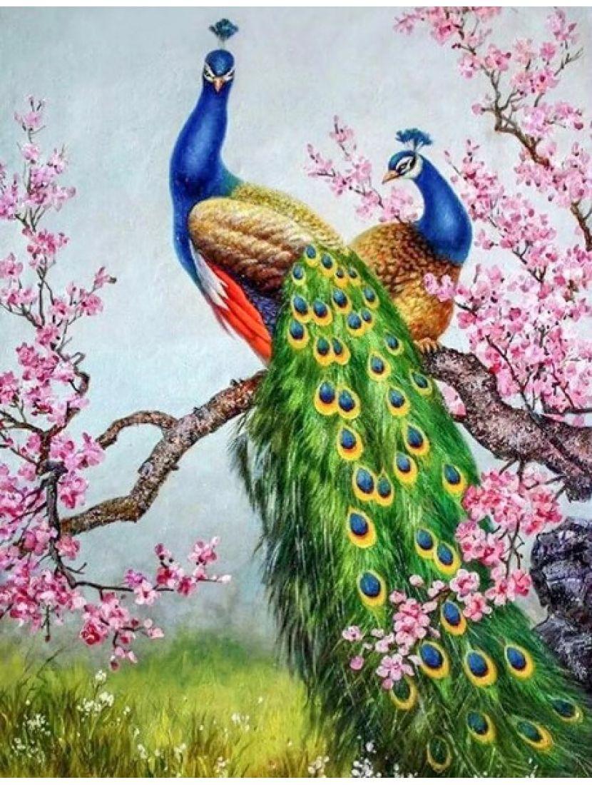 Алмазная мозаика «Павлины на цветущей ветви»