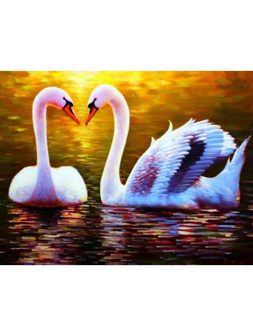 Алмазная мозаика «Лебединая пара»