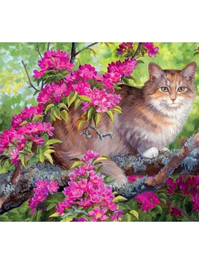 Алмазная мозаика «Кошка в цветах»