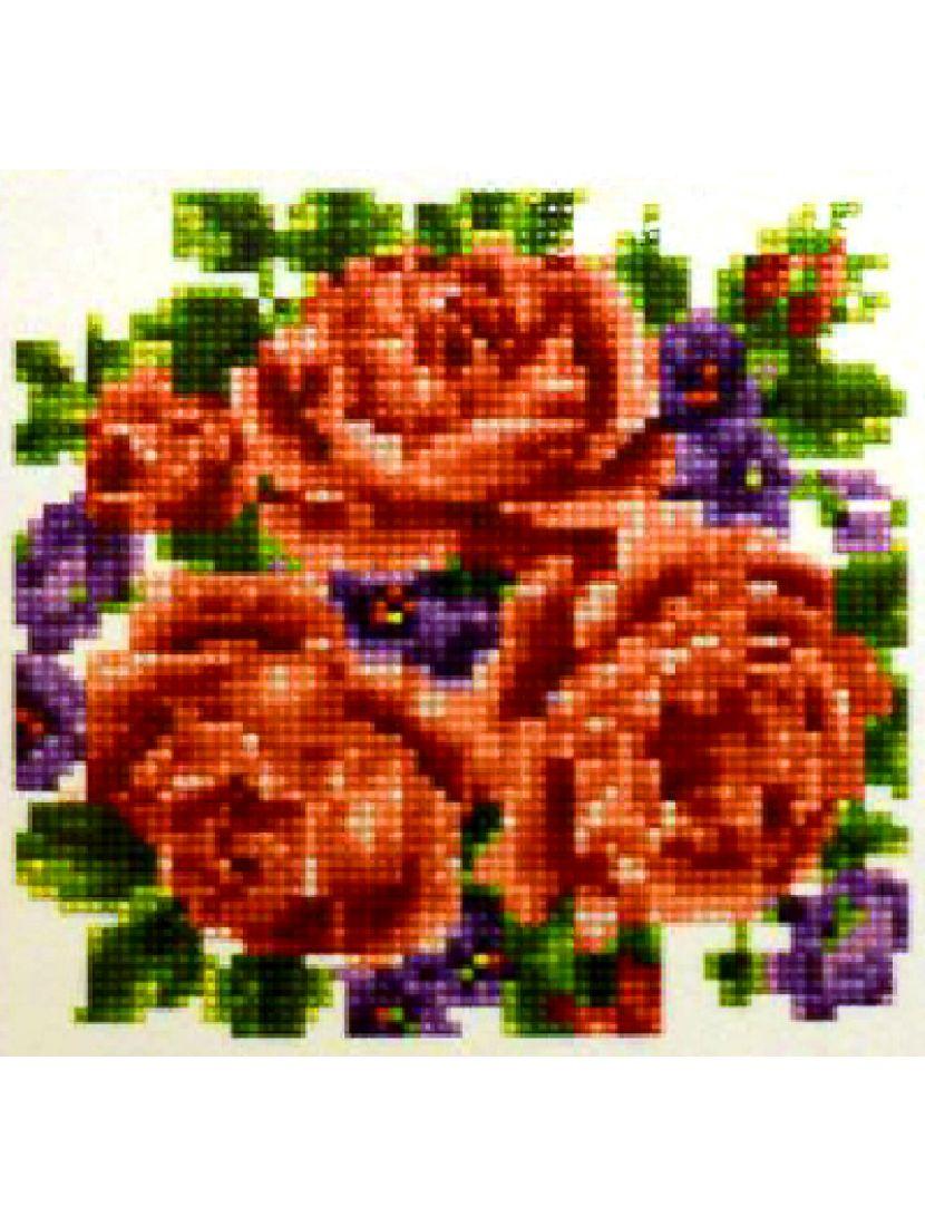 Алмазная мозаика «Розы и фиалки»