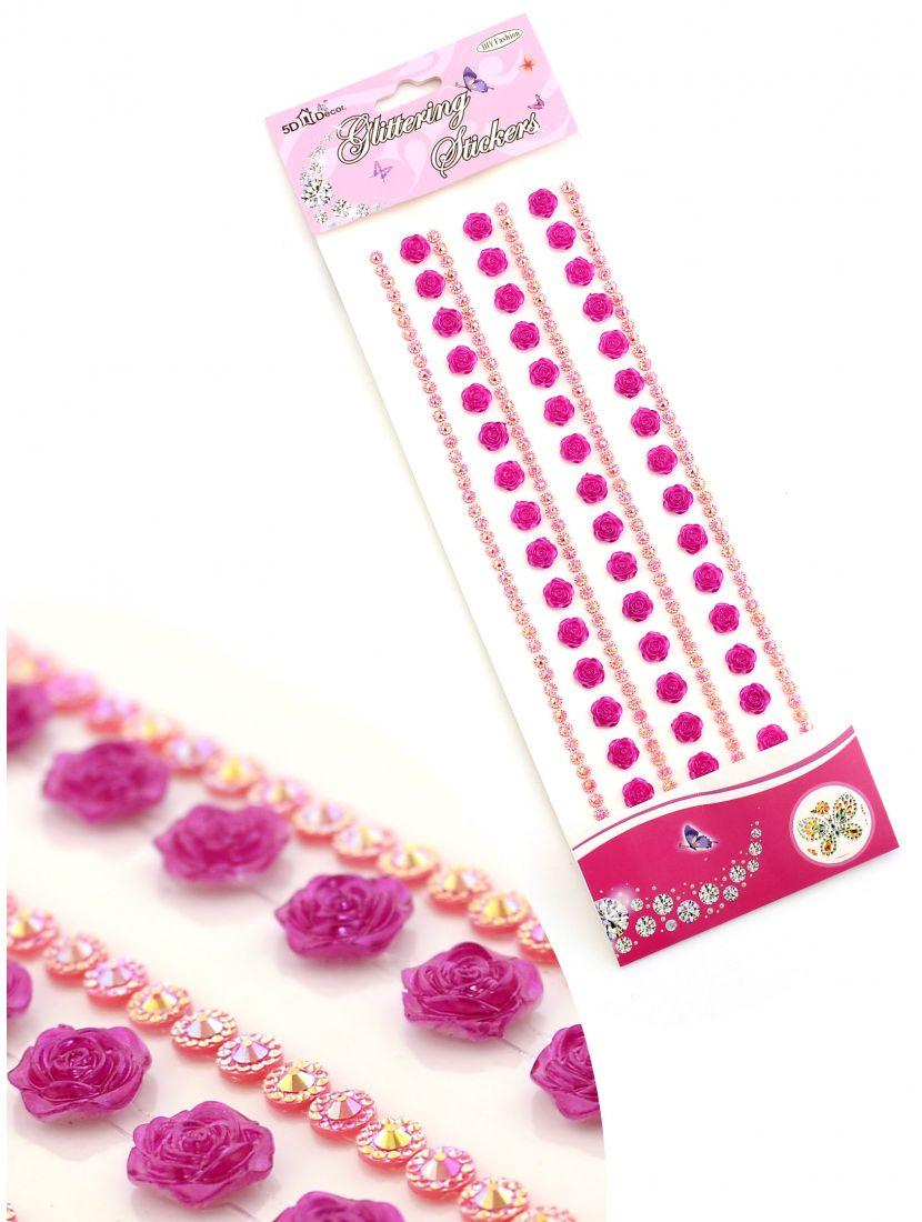 Стразы для рукоделия «Розы и алмазы красно-фиолетовые» самоклеющиеся
