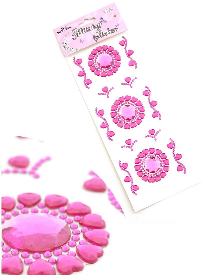 Украшения из страз «Кристальные цветы розовые» самоклеющиеся.