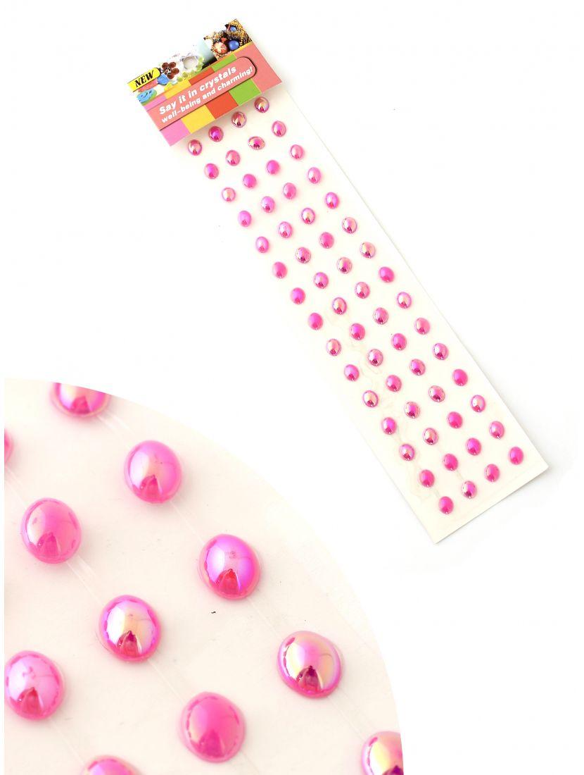 Стразы для рукоделия «Перлы розовые» самоклеющиеся 6 мм.