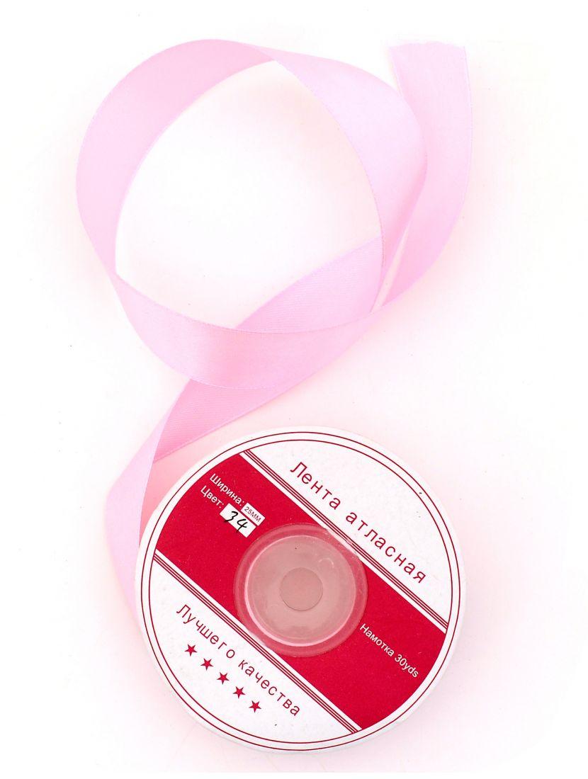 Лента атласная 26 мм розовая 27,4 м