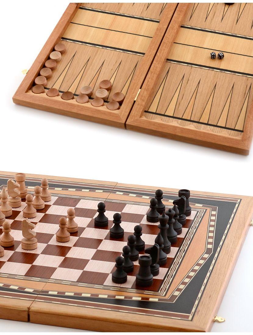 Нарды, шахматы, шашки 3в1 «Десятиклинка» инкрустация шпоном