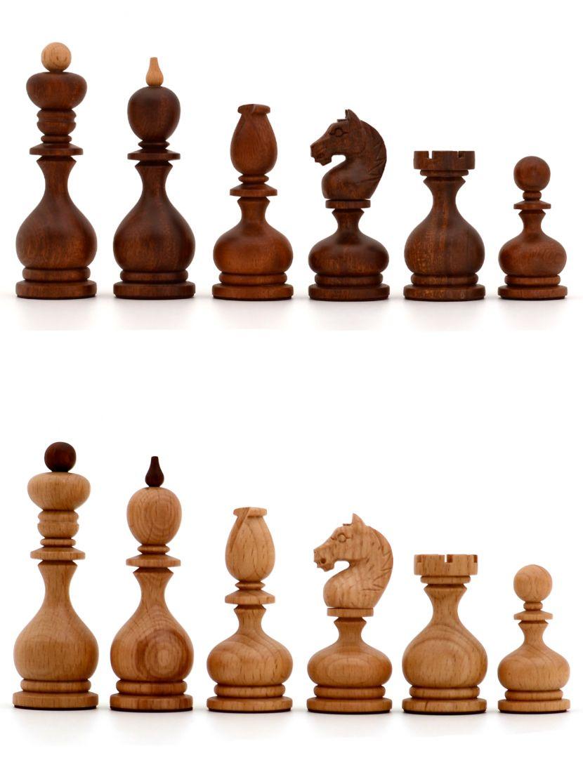 Фигуры шахматные резные «Суздальские» с утяжелением, махагон, бук