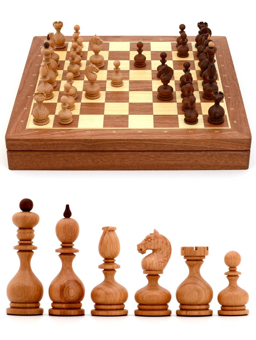Шахматы с резными фигурами «Суздальские» ларец классический махагон 45 x 45 см