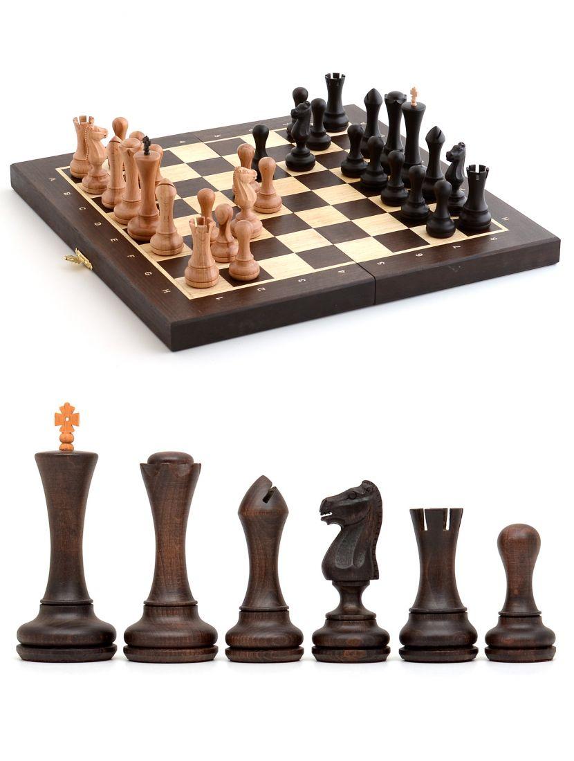 Шахматы с резными фигурками «Престиж» доска складная из венге 40x40 см