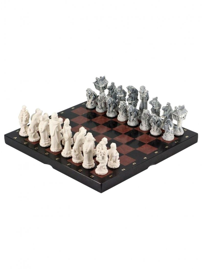Шахматы из камня креонид + змеевик «Северные народы»