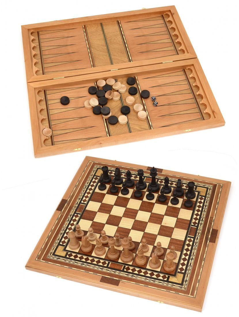 Нарды, шахматы, шашки 3в1 большие «Семиклинка» шпон