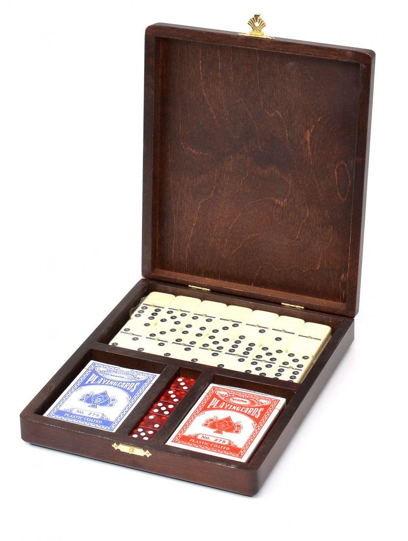 Набор настольных игр. Домино 6 точек, Кости, Карты