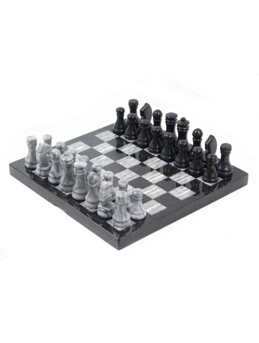 Шахматы из камня «Змеевик-мрамор»