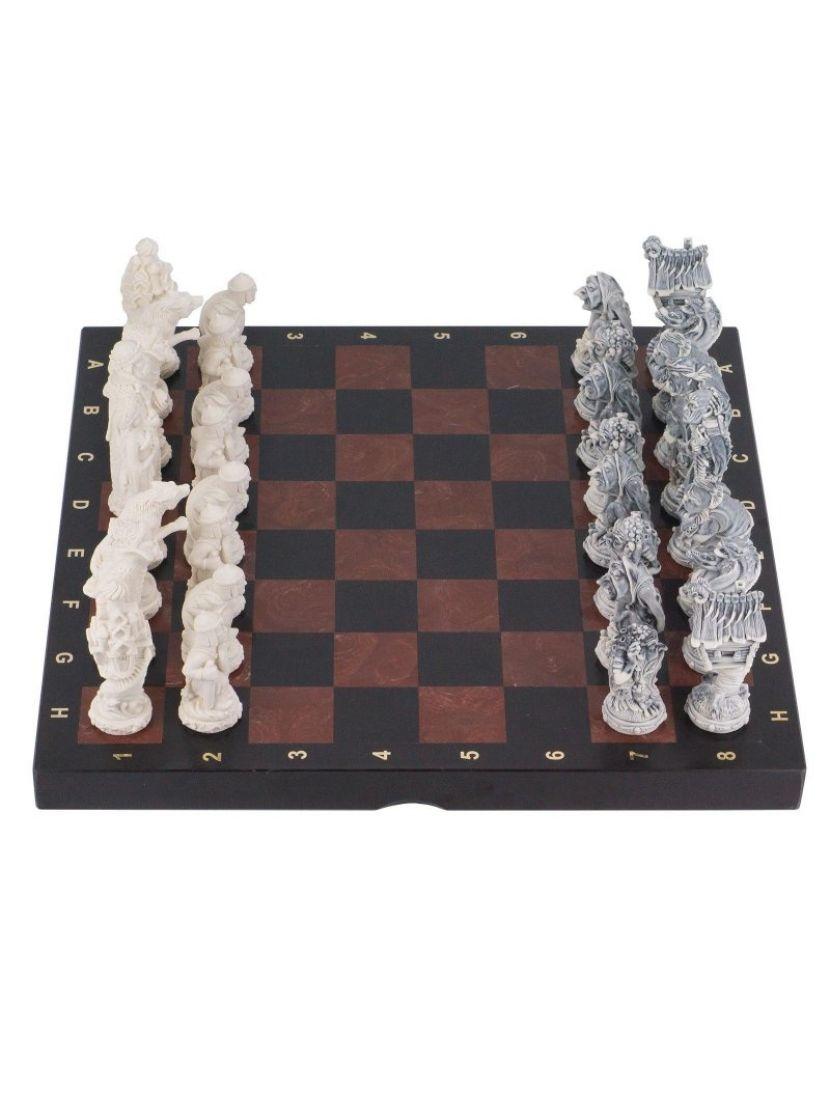 Шахматы из камня змеевик + лемезит «Северные народы»