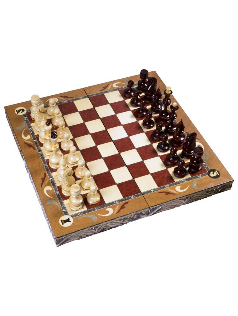 Шахматы резные «Герб России» большие