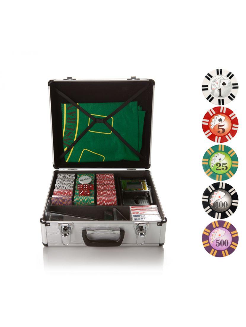 Набор для игры в покер и блэк-джек «Royal Flush» на 600 фишек с номиналом
