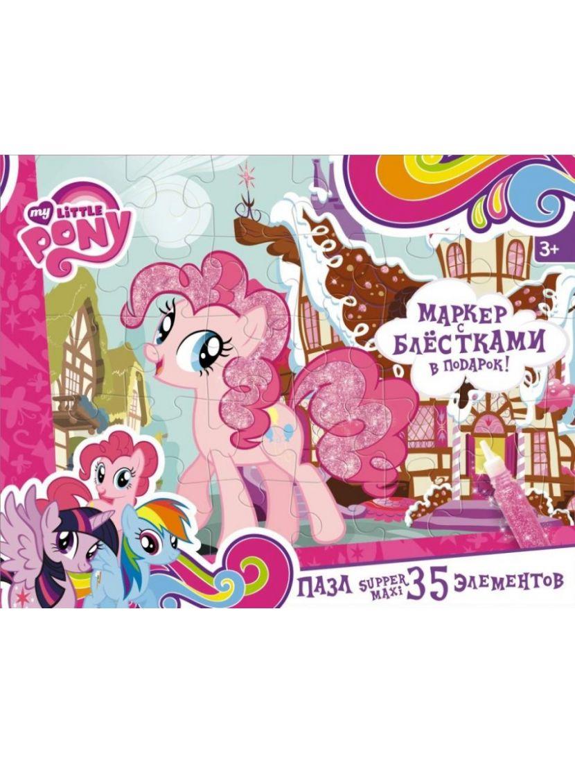 Набор маркер с блёстками + пазл «My Little Pony» 35 MAXI элементов