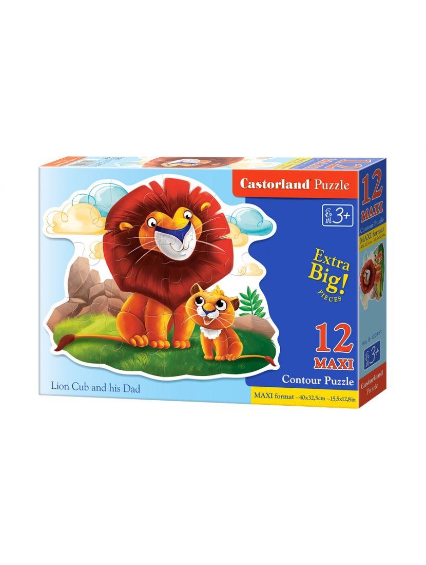 Пазл контурный «Лев и львенок» 12 MAXI элементов