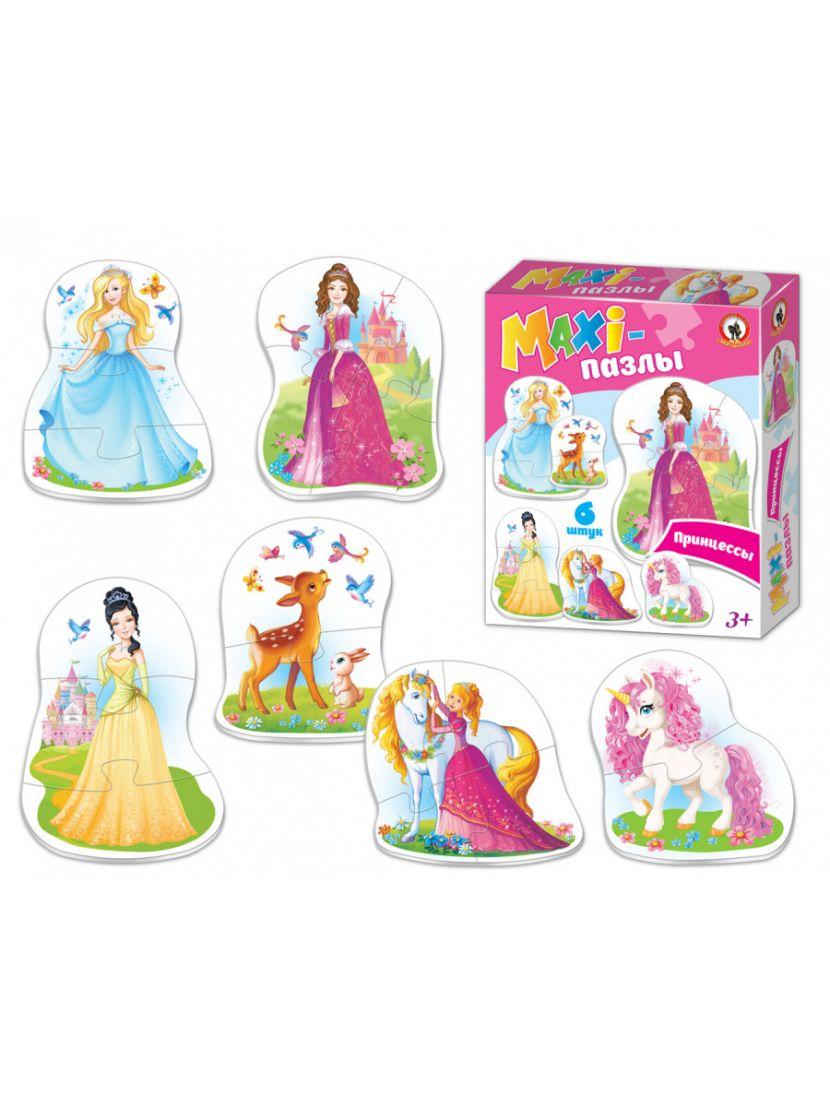 Пазл «Принцессы» от 2 до 6 MAXI элементов