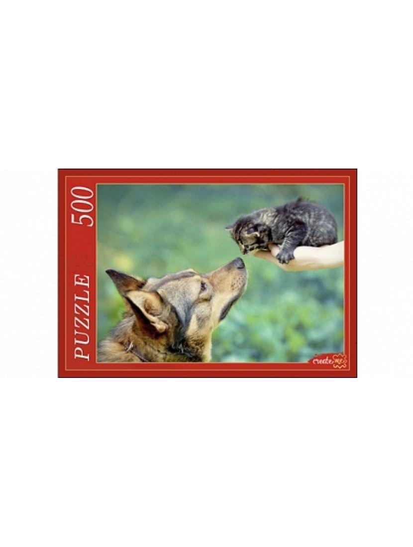 Пазл «Немецкая овчарка и котенок» 500 элементов