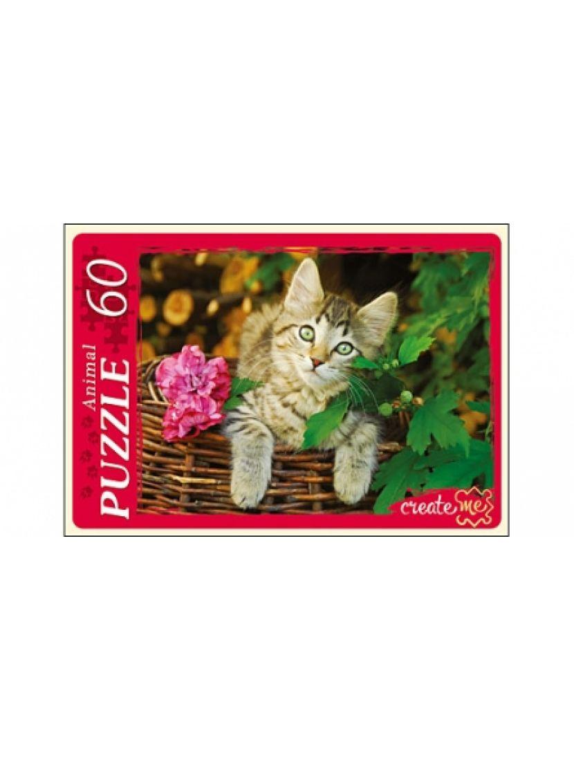 Пазл «Кот в корзине» 60 элементов