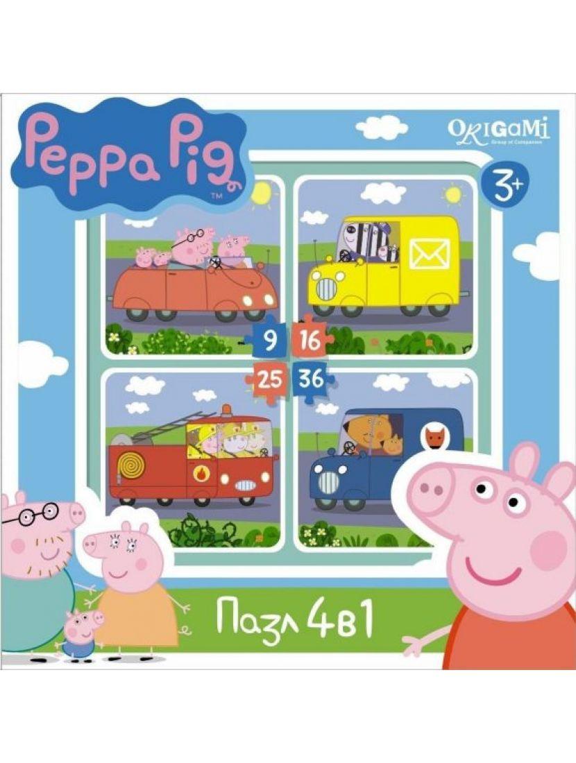 Пазл-набор 4 в 1 «Peppa Pig. Транспорт» 9, 16, 25, 36 элементов
