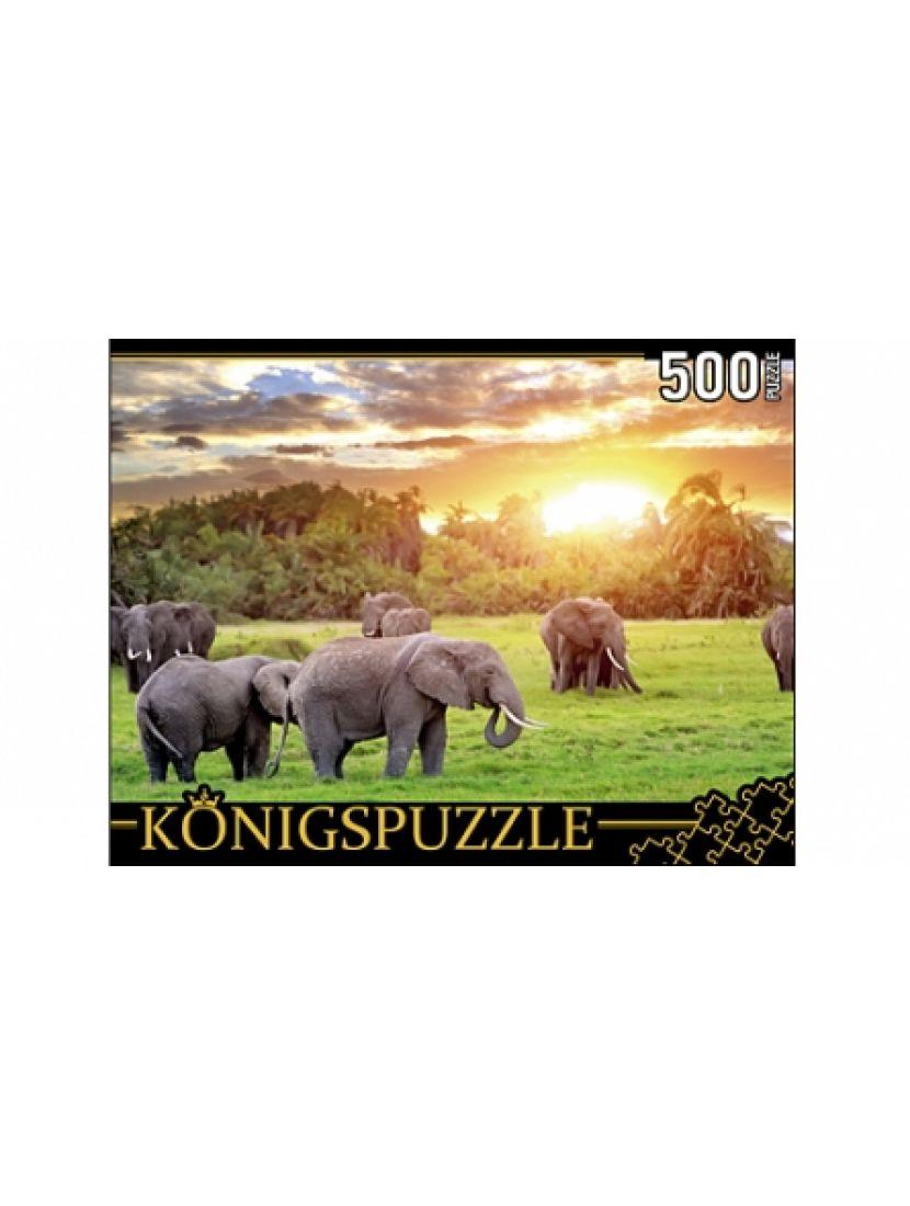 Пазл «Кенийские слоны» 500 элементов